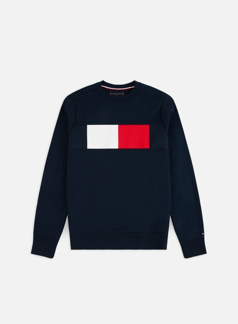 Outlet e Saldi Felpe Girocollo Tommy Hilfiger Flag Chest Logo Crewneck