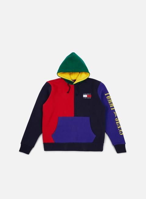 felpe tommy hilfiger tj 90s hknit colorblock hoodie peacoat multi
