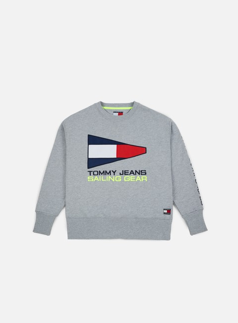 felpe tommy hilfiger tj 90s sailing logo crewneck light grey heather