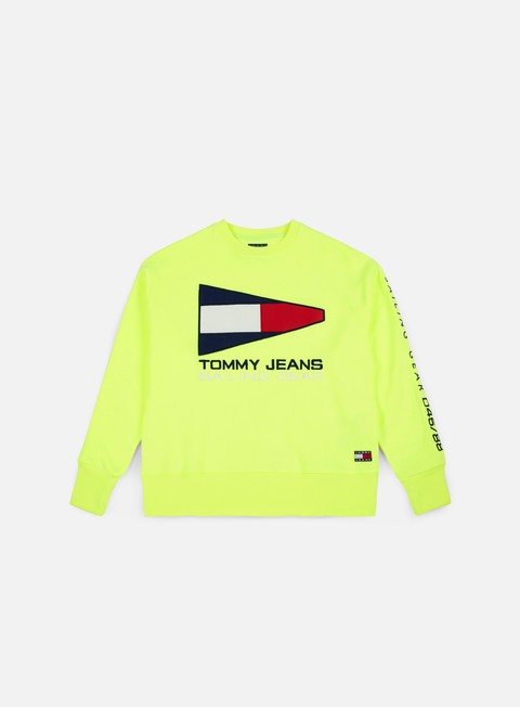 felpe tommy hilfiger tj 90s sailing logo crewneck safety yellow