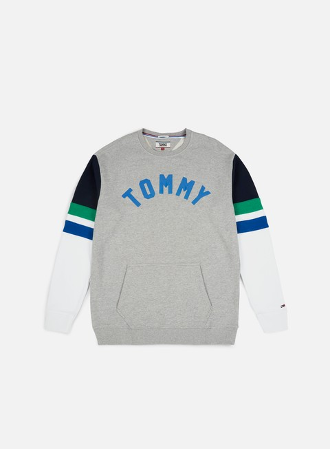felpe tommy hilfiger tj colorblock crewneck light grey heather multi
