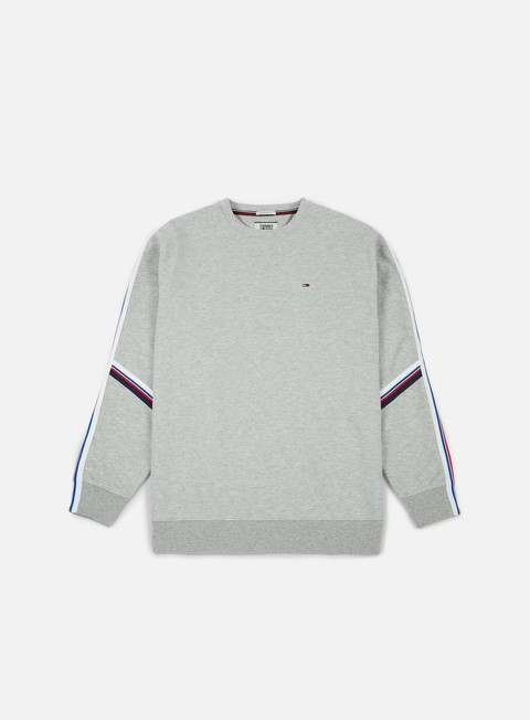 felpe tommy hilfiger tj racing stripe crewneck light grey heather