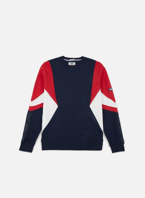 felpe tommy hilfiger tj symmetric colorblock crewneck racing red multi