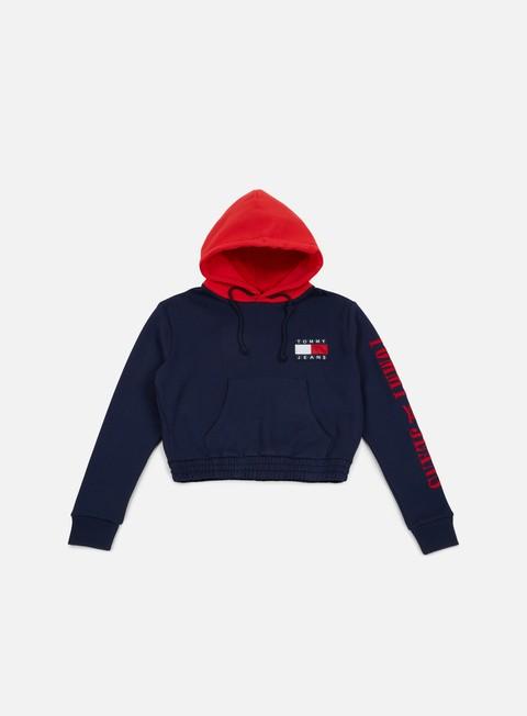 felpe tommy hilfiger wmns tj 90s contrast crop hknit hoodie peacoat