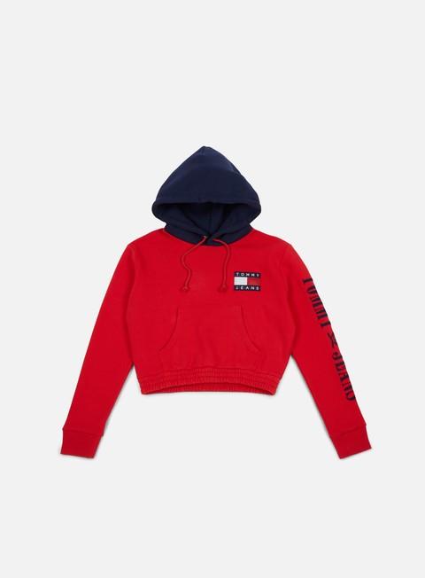 Hooded Sweatshirts Tommy Hilfiger WMNS TJ 90s Contrast Crop Hknit Hoodie