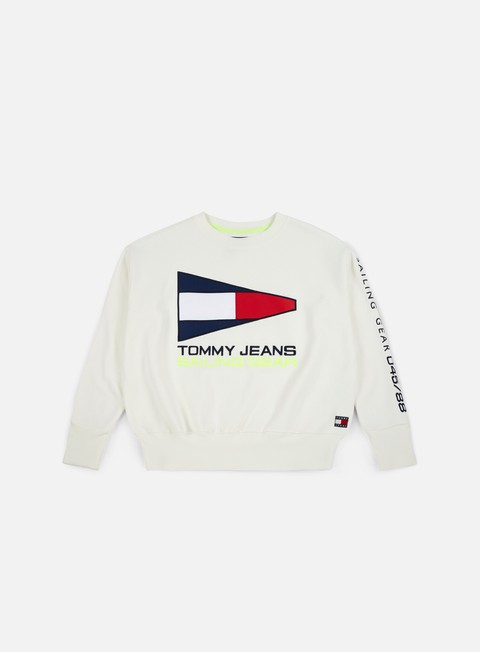 felpe tommy hilfiger wmns tj 90s sailing logo crewneck bright white