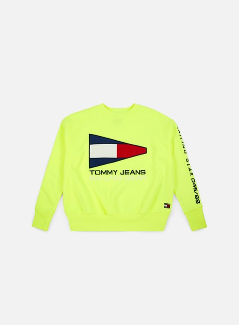 felpe tommy hilfiger wmns tj 90s sailing logo crewneck safety yellow