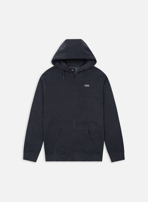 felpe vans core basics zip hoodie black heather