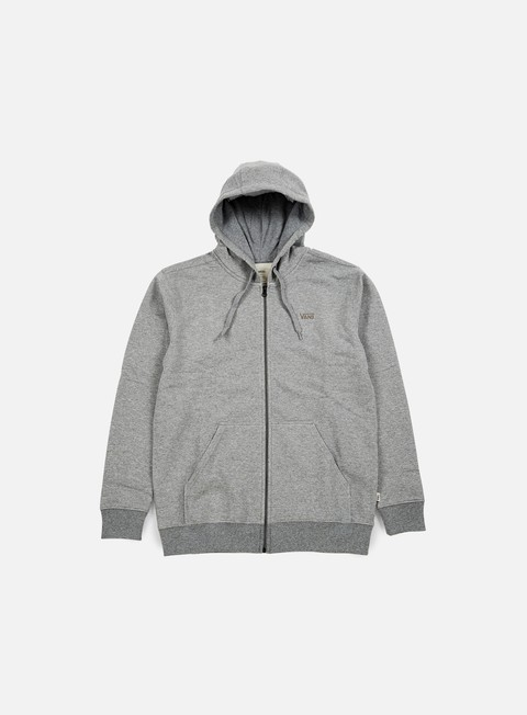 felpe vans core basics zip hoodie concrete heather