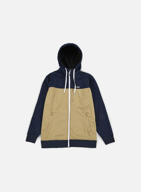 felpe vans liston zip hoodie khaki dress blues