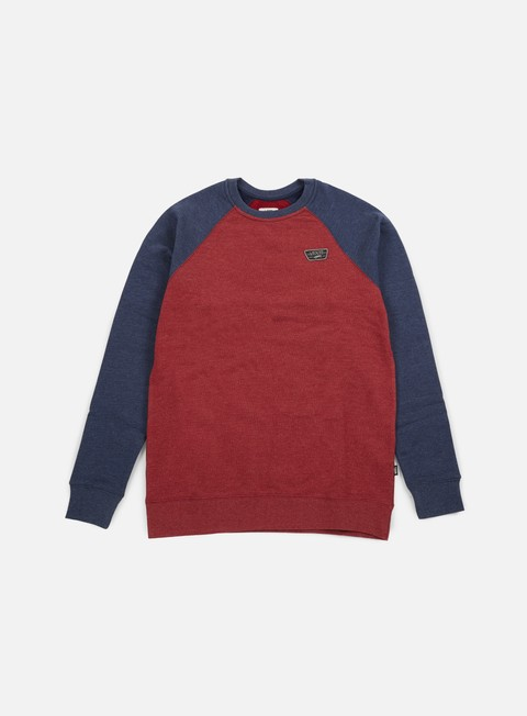 felpe vans rutland crewneck red dahlia heather dress blues heather