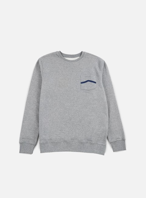 felpe vans side stripe pocket crewneck concrete heather