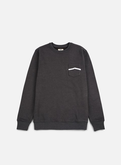 felpe vans side stripe pocket crewneck new charcoal