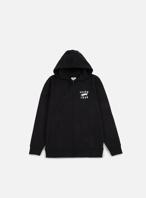 felpe vans stitched zip hoodie black