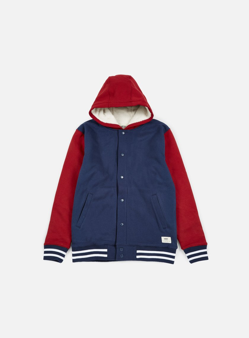 Vans - University II Sherpa Hoodie, Dress Blues/Red