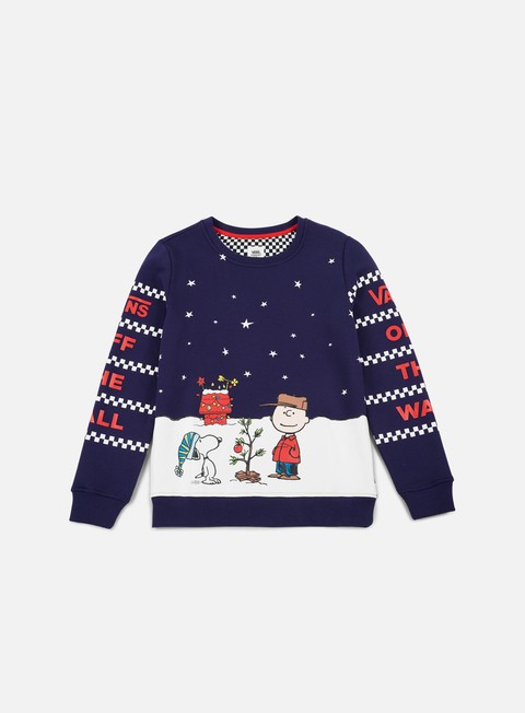 felpe vans wmns vans x peanuts christmas crewneck dress blues