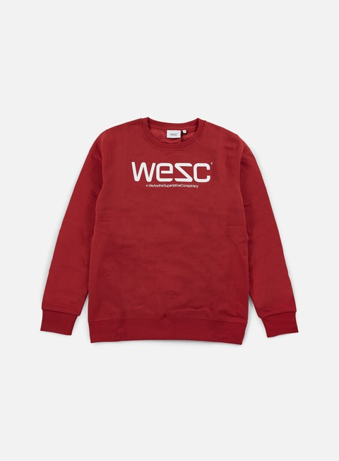 felpe wesc wesc crewneck pompejan red white