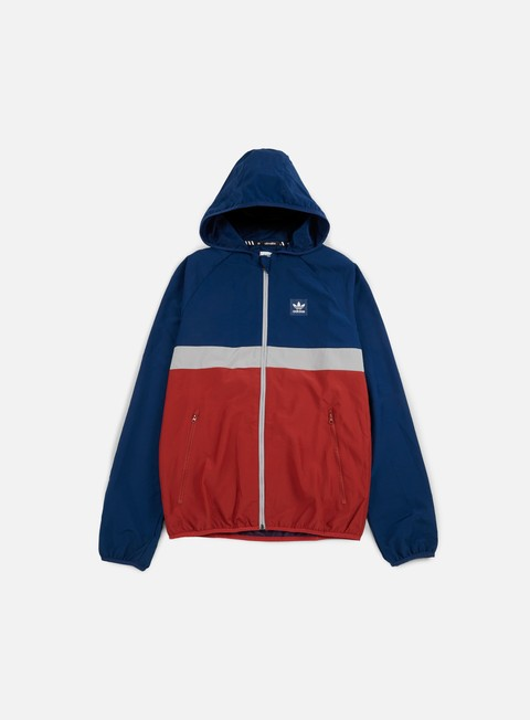 giacche adidas skateboarding blackbird wind jacket mystery blue mystery red medium grey