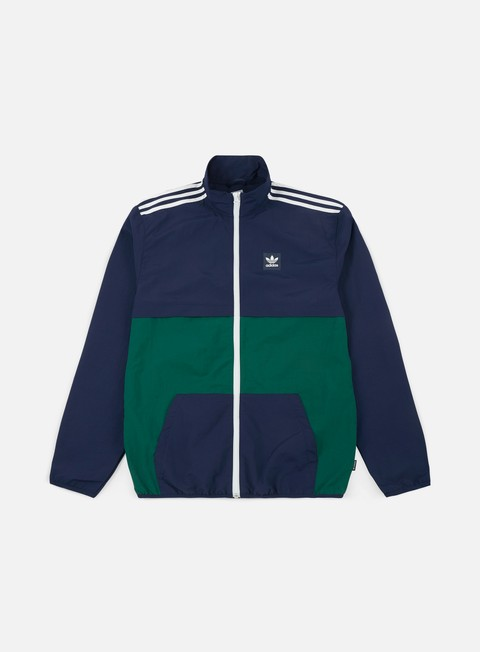 giacche adidas skateboarding class jacket night indigo collegiate green white