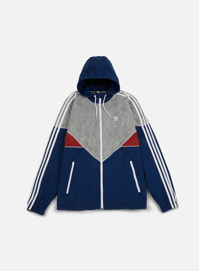 Adidas Skateboarding - Colorado Nautical Windbreaker, Mystery Blue/Mystery Red/Medium Grey