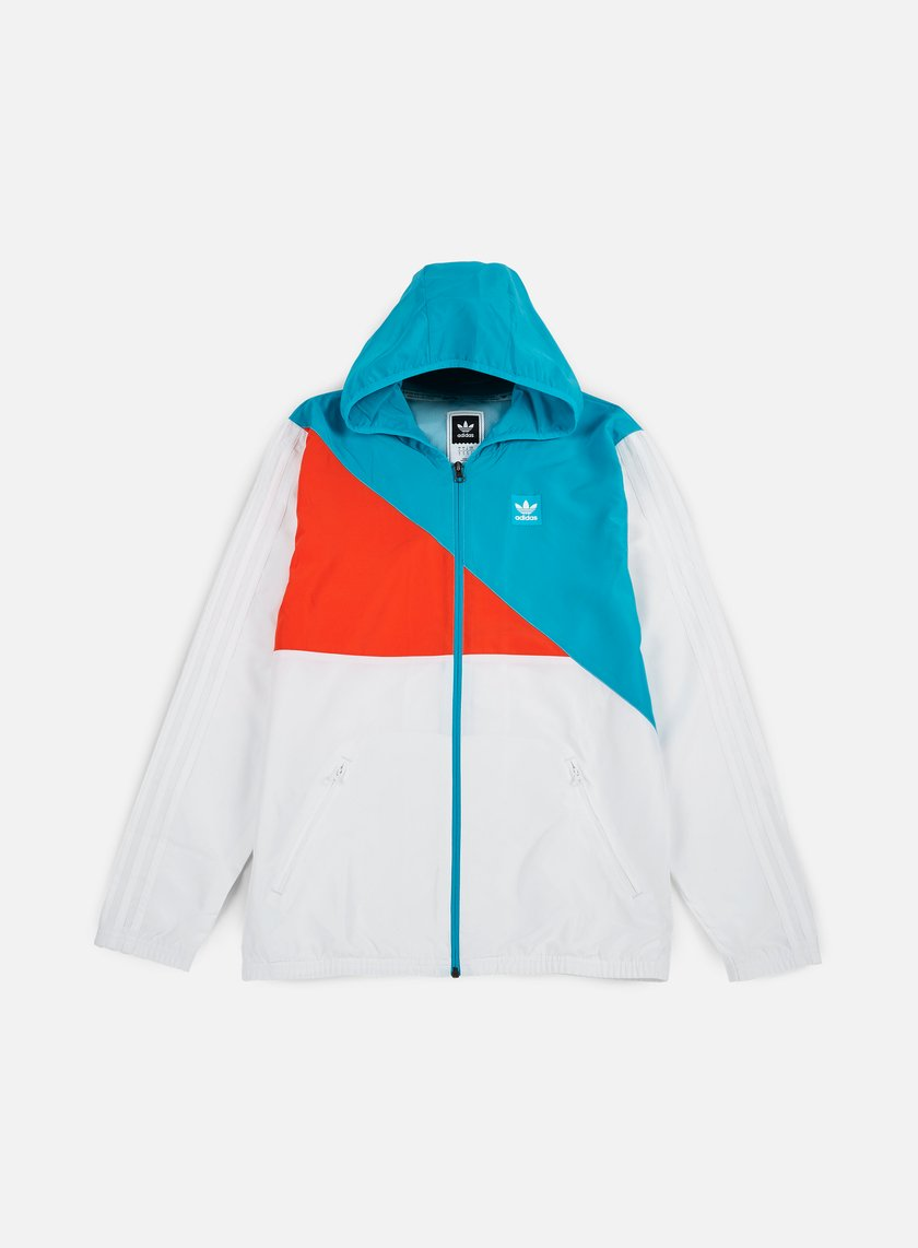 Adidas Skateboarding - Courtside Windbreaker Jacket, White/Energy Blue/Energy