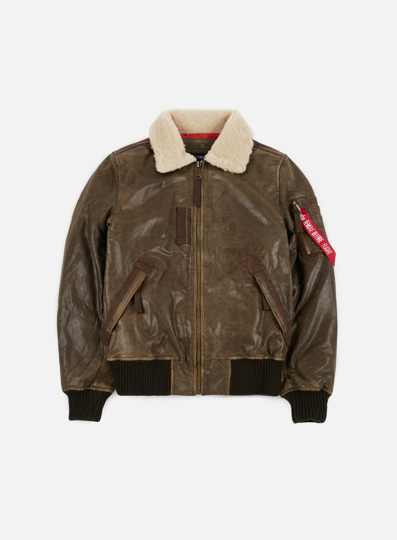 Alpha Industries - Injector III Leather Jacket, Vintage Brown