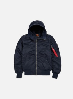 Alpha Industries - MA-1 Hooded W.O. Fur Flight Jacket, Replica Blue 1