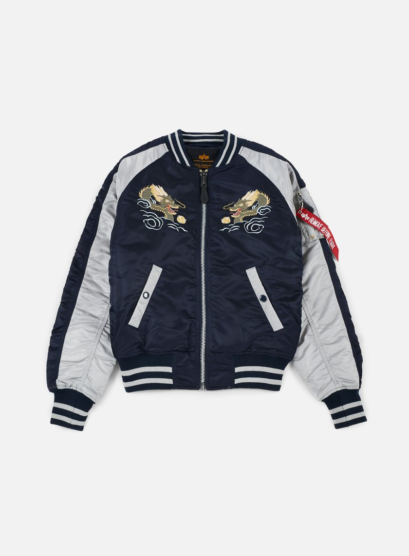 Alpha Industries - MA-1 Souvenir Japan Dragon Jacket, Replica Blue