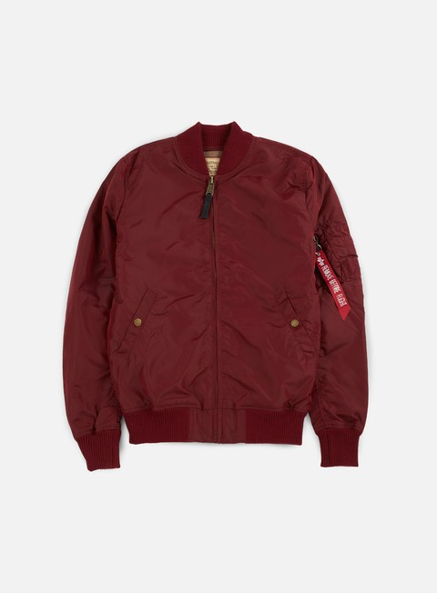giacche alpha industries ma 1 tt long flight jacket burgundy