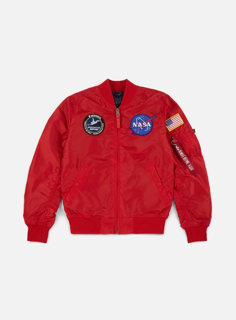 giacche alpha industries ma 1 tt reversible nasa flight jacket speed red inside star
