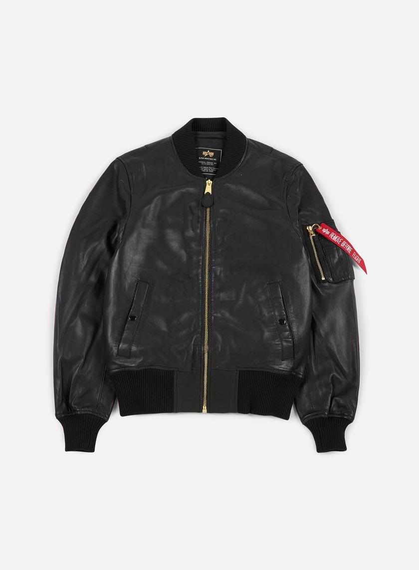 Alpha Industries - MA-1 VF PM Leather Jacket, Black