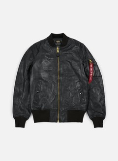 Alpha Industries - MA-1 VF PM Leather Jacket, Black OLD 1