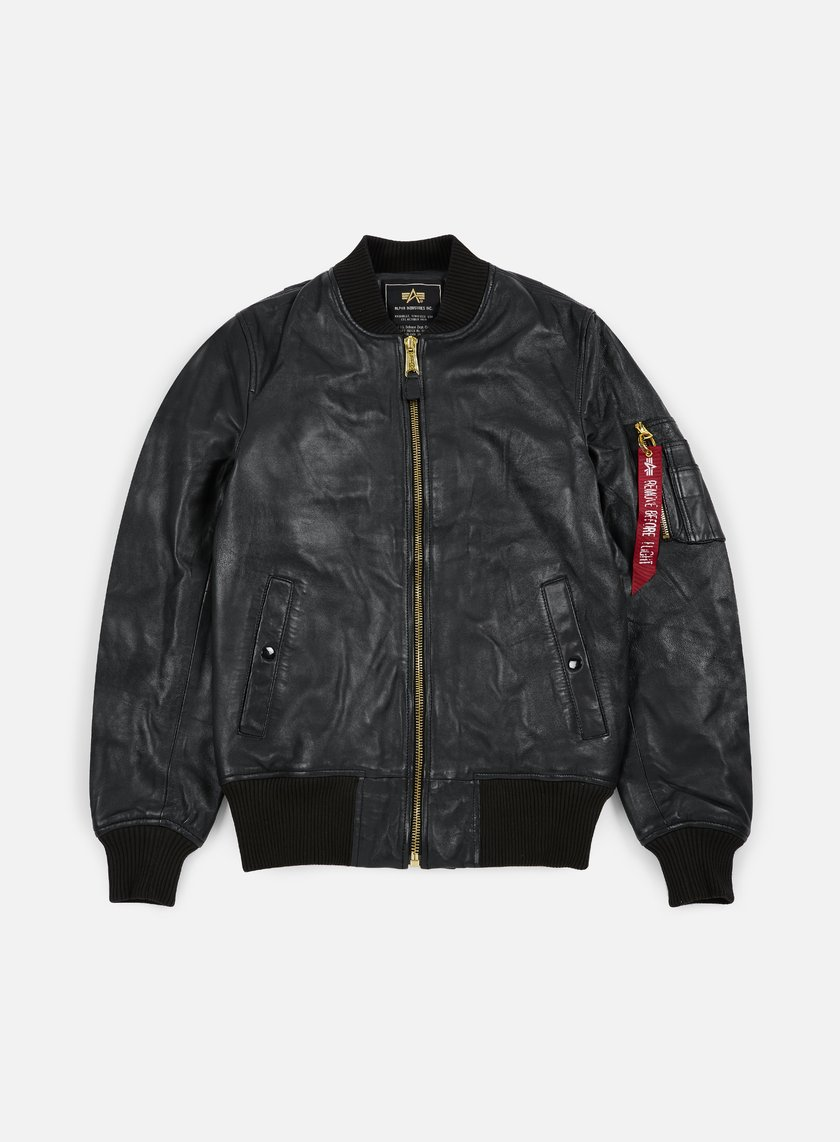 Alpha Industries - MA-1 VF PM Leather Jacket, Black OLD