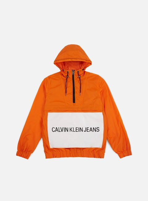 giacche calvin klein jeans institutional logo pop over jacket orange tiger