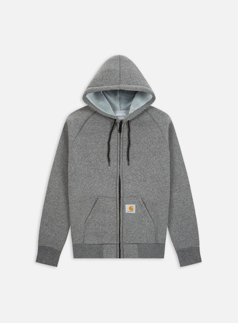 giacche carhartt car lux hooded jacket dark grey heather grey