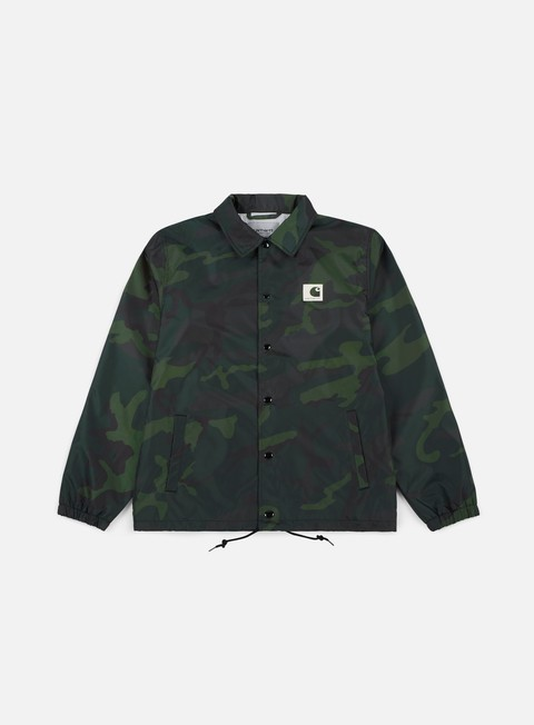 giacche carhartt sports coach jacket camo combat green wax