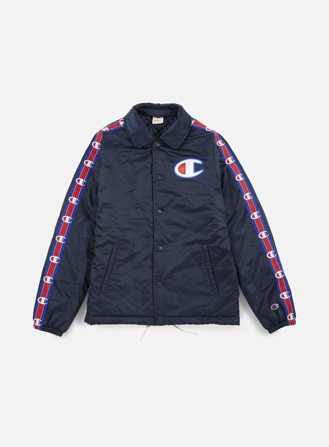 giacche champion heavy satin coach jacket navy