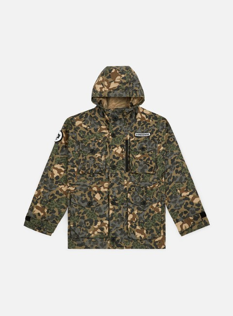 giacche converse printed cotton utility jacket dusky green