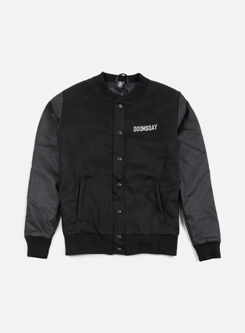 giacche doomsday death is certain varsity jacket black