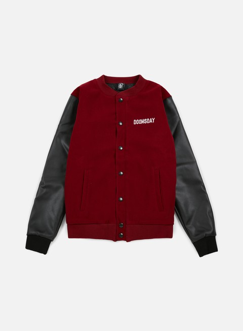 giacche doomsday death is certain varsity jacket burgundy