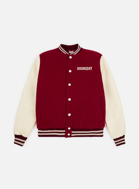 giacche doomsday free mind varsity jacket burgundy cream