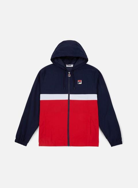 giacche fila tate half zip jacket peacot red white
