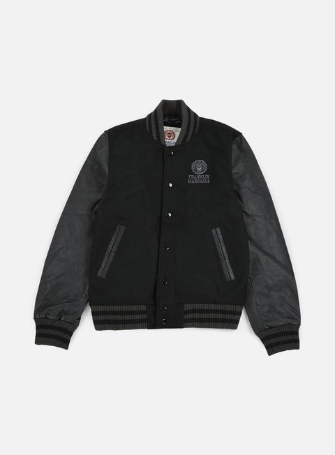 giacche franklin e marshall logo baseball jacket black