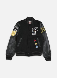 Franklin & Marshall - Native Embroidered Baseball Jacket, Black 1