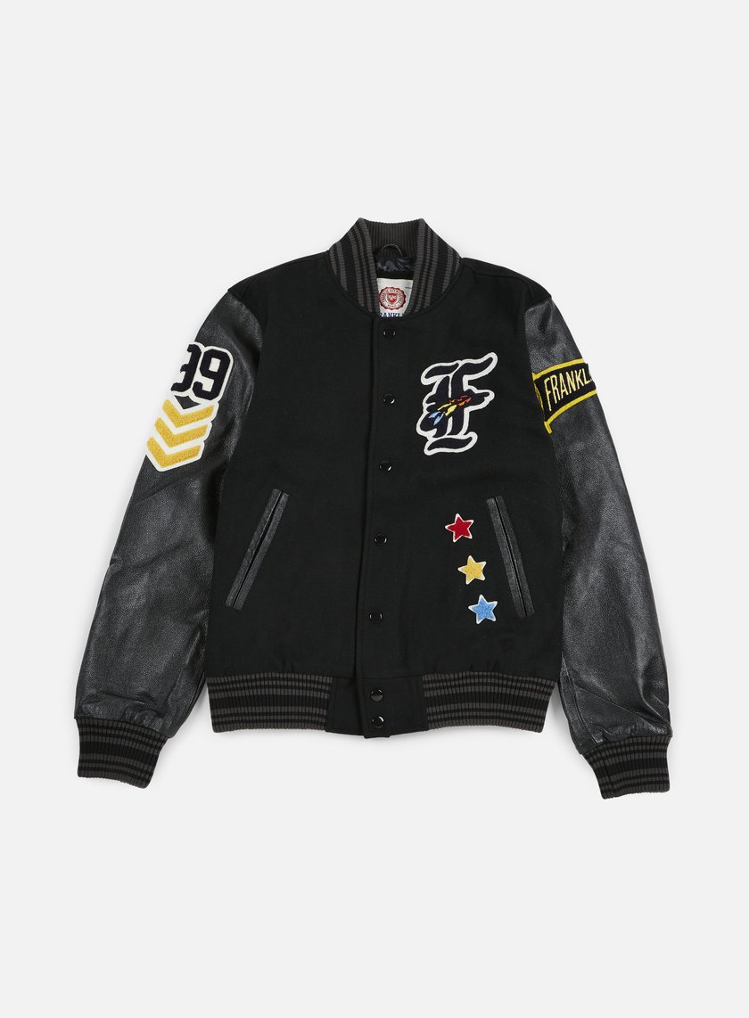 Franklin & Marshall - Native Embroidered Baseball Jacket, Black