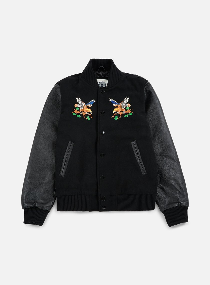 Franklin & Marshall - Outdoor Embroidered Baseball Jacket, Black