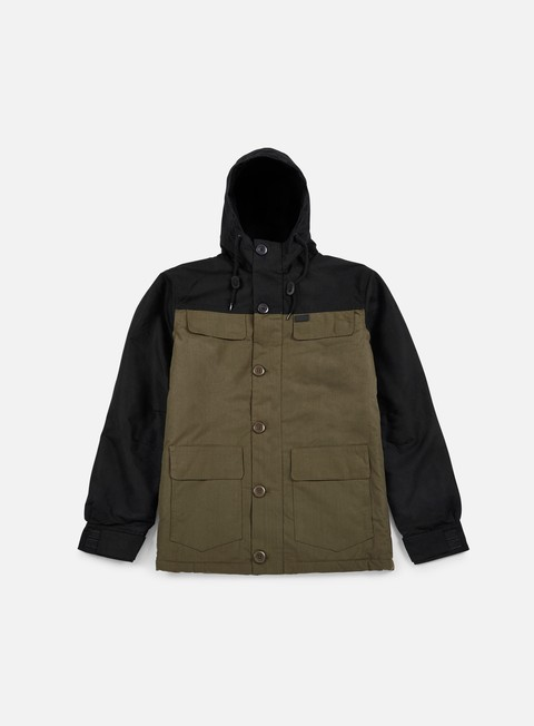giacche globe goodstock blocked parka jacket dark olive