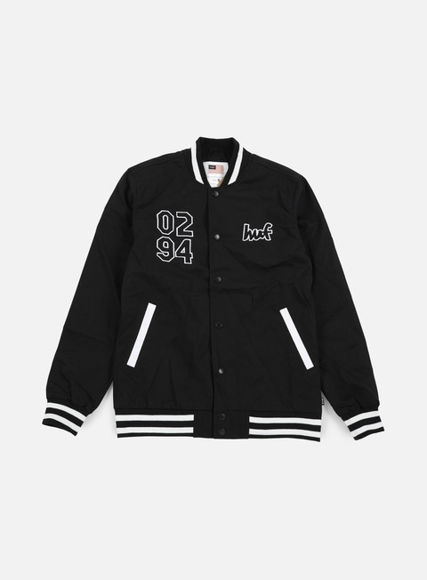 giacche huf chocolate chunk varsity jacket black white