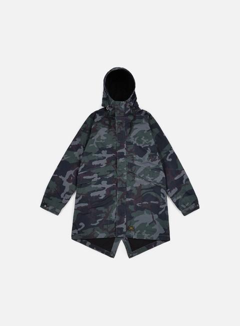 giacche huf cloak parka jacket woodland camo