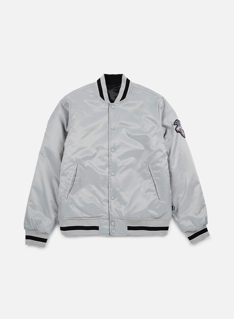 giacche huf easy reversible satin jacket silver
